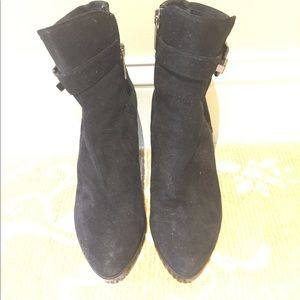 Aquatalia black suede booties