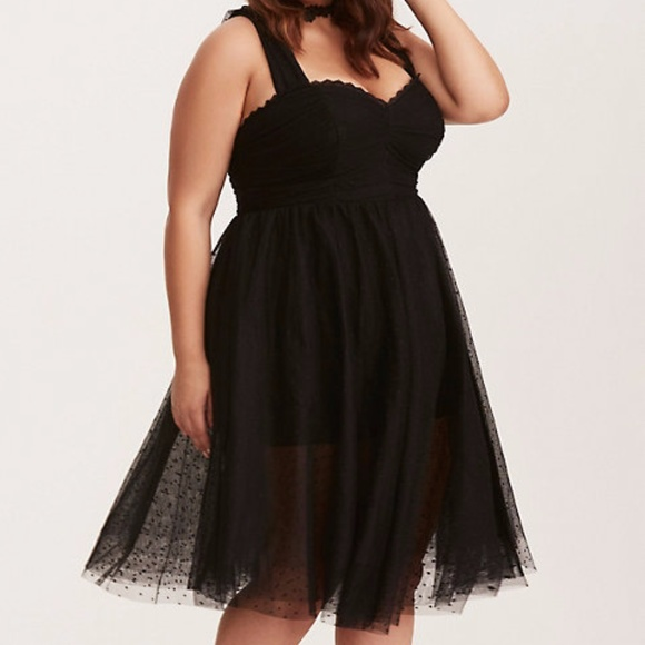 f40587eb8887 torrid Dresses | Retro Chic Black Dotted Mesh Swing Dress 18 | Poshmark