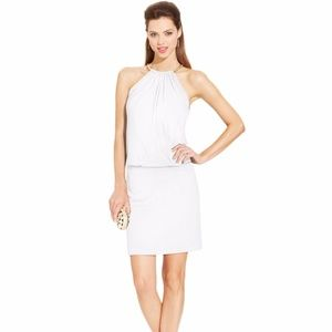 Jessica Simpson Ivory Blouson Halter Dress