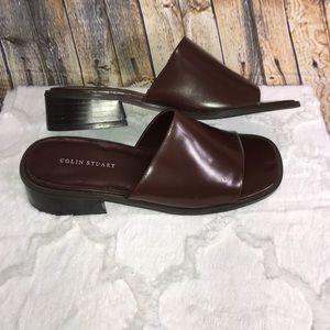 Colin Stuart Brown Leather Sandal Slides Sz 9 NWOT