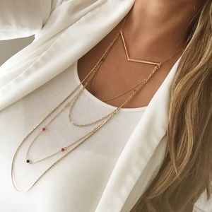 Express gold layered beaded necklace