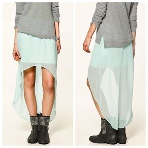 Zara turquoise high low flowey skirt