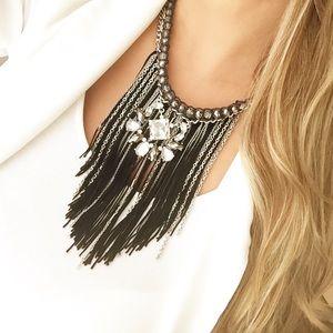 Express black pendant fringe statement necklace