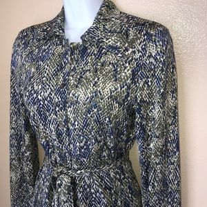 DVF Vintage Button Down Tie Silk Midi Dress 8