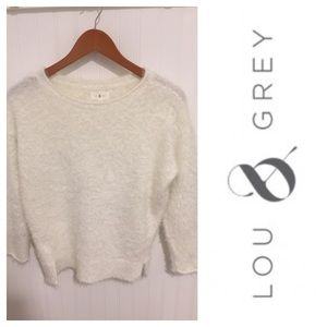 Lou & Grey soft white fuzzy sweater S