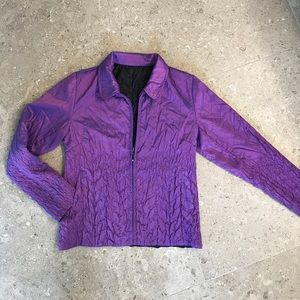 Purple and black reversible jacket with zip
