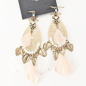 Express gold pink white feather earrings