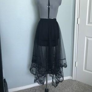 Dresses & Skirts - Black Bodycon Mini Skirt With Mesh Overlay