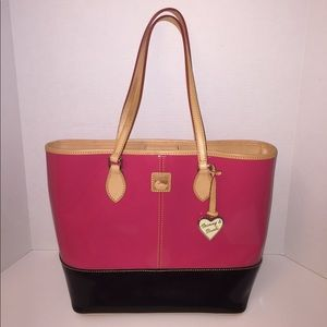 Dooney & Bourke Pink/Black Patent Leather Shopper