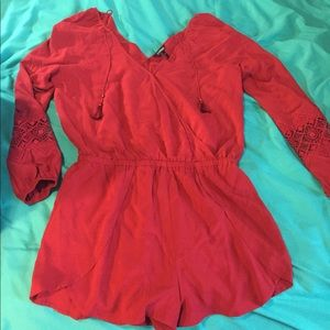Long sleeve red romper (shorts)