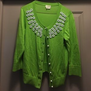 Kate Spade green sweater with beaded details