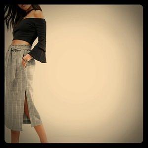 Asos check print paperbag waist midi skirt w slit