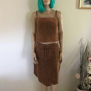 Genuine Leather Tank Skirt Suede Halloween Costume