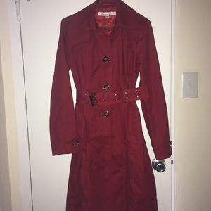 Kenneth Cole red belted flare trench coat, XS