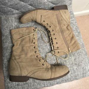Beige combat boots