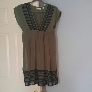 Olive green and navy dress