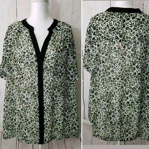 TORRID Blouse Floral Button Down Sheer Black Green