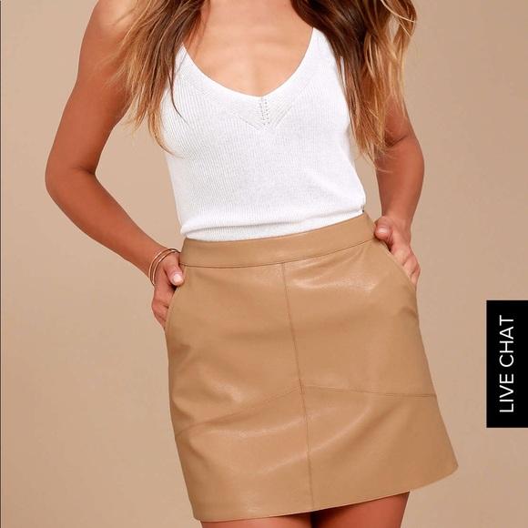 6e5d6da20 Lulu's Dresses & Skirts - Lulus's Harley tan vegan leather mini skirt