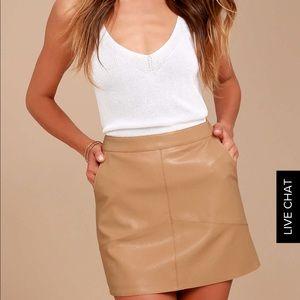 Lulus's Harley tan vegan leather mini skirt