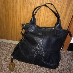 Fossil Black Leather Tote Hobo Bag