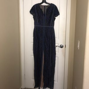 A maxi blue lace dress