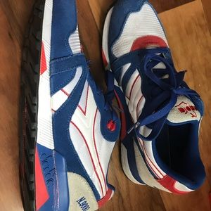 Red, blue and white Diadora sneakers size 11.5