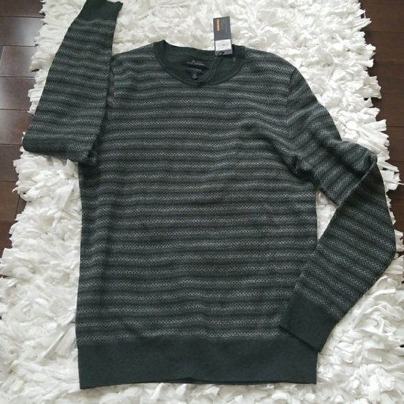 NEW Mens Marc Anthony Striped Slim Fit Cotton//Merino Wool//Cashmere Sweater Crew