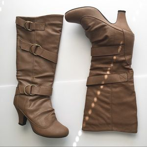 Fall Brown Faux Leather Boots