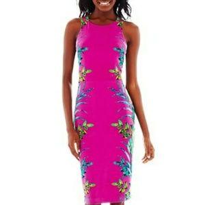 Nicole Miller Floral Print Purple Midi Dress