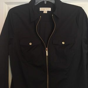 Michael Kors Sz M black/gold zippered dress shirt