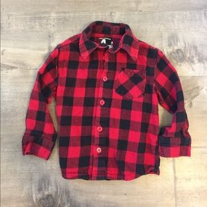 BABY red and black plaid flannel size 2T