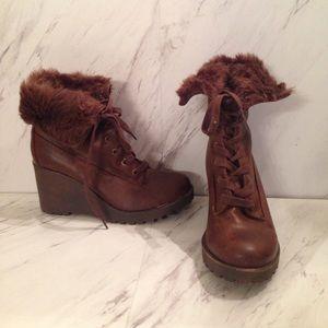 Brown Platform Ankle Booties with Fur