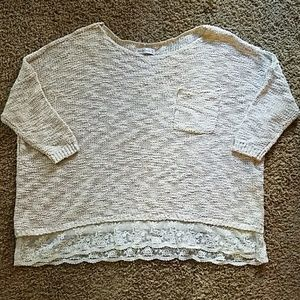 Abercrombie and Fitch Cream Lace Trim Sweater