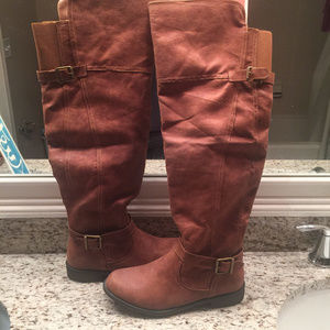 JustFab Brown Vani Over-the-Knee Boots