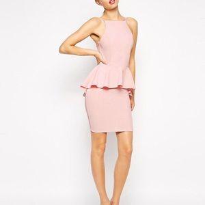 ASOS Dipped Hem Mini Peplum Dress