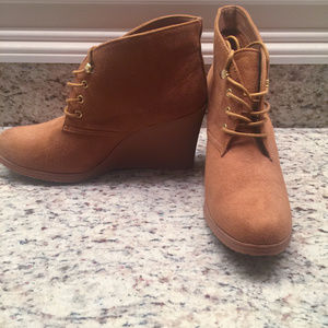 Brown Merona Wedge Lace-Up Booties