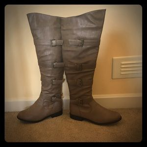 Adorable buckle over the knee taupe boots
