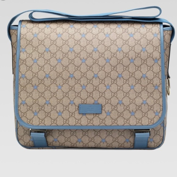 25b166f55a9 Auth Gucci GG Supreme star diaper messenger bag