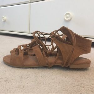 Bamboo gladiator lace up sandals