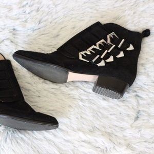 Zara Women's Black Ankle Boots with Buckles Size 7