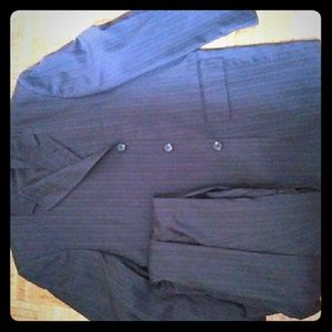 Men's Pin-Striped Black Suit