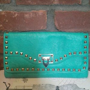 Turquoise Studded Clutch Bag