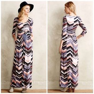 Anthropologie Novela Chevron Maxi Jersey Dress