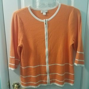 Christopher Banks orange white trim zip cardigan