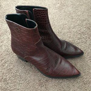 Zara croc print ankle boots