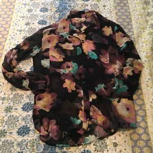 Long sleeve sheer Floral button down Blouse