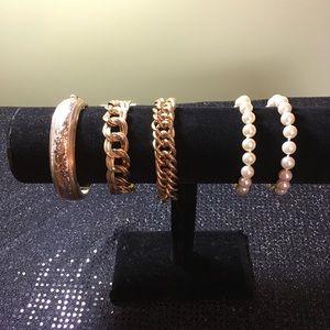 Vintage Bracelet Lot, costume, 5 bracelets Avon-1