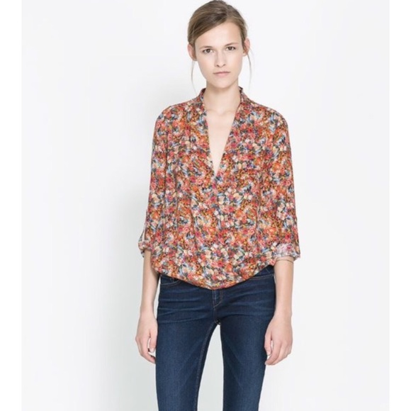 140d4c18 Zara Tops | Crossover Wrap Style Floral Blouse New | Poshmark
