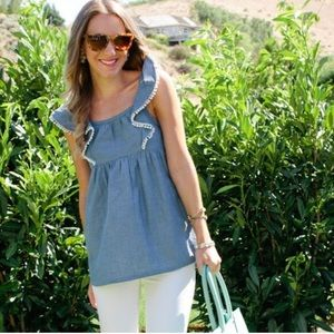 Chambray pompon top