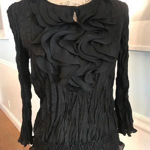 Black ruffle blouse size medium.